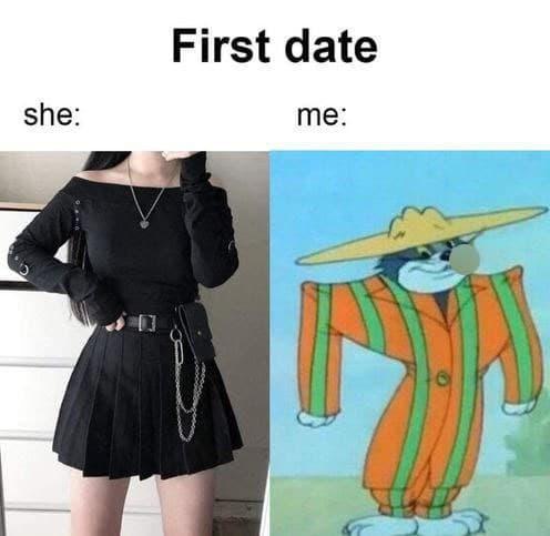 Элегантная девушка, нелепый спутник. Мем «Первое свидание, она и я» потешается над нарядами парней