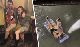 Заплыв на матрасе и танцы на фоне потопа. Ньюйоркцы во время наводнения ударились в релакс и юмор