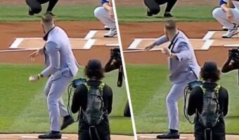Конор Макгрегор проиграл бейсбольному мячу. Провальная подача бойца на матче подарила ему насмешки