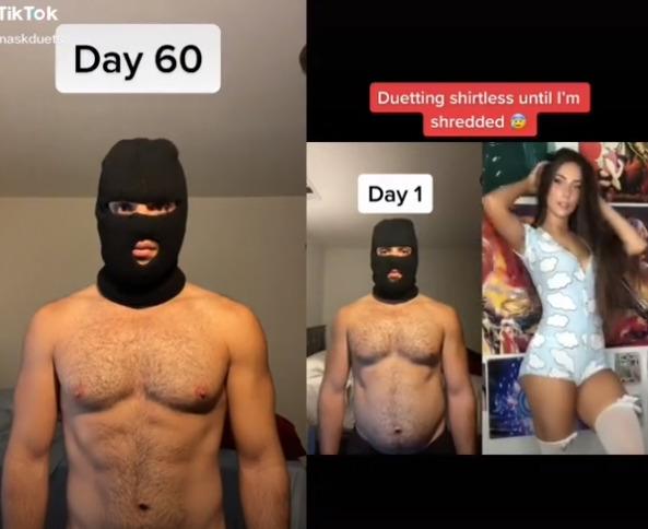 Стать качком за 81 день. Тиктокер три месяца снимал странные дуэты в маске и полуголым, чтобы похудеть
