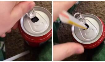 Как открыть банку газировки, чтобы крышка не мешала пить. Лайфхак с картинками из четырёх шагов