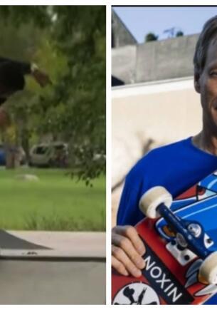 Репортёр лихо прокатился на скейте и впечатлил Тони Хоука. Зрелищный экстрим в прямом эфире