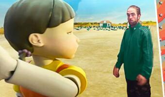 К кукле из «Игры в кальмара» в мемах крадутся Роберт Паттинсон и покемон. С ними робот кажется милым