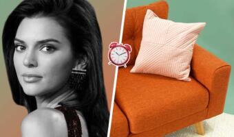 Сидящая на диване модель Кендалл Дженнер стала символом грустных любовниц. Что-то приуныла