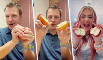 Фанаты челленджей ломают яблоки, не жалея рук. Лайфхак, как разделить фрукт без ножа, угодил в тренды