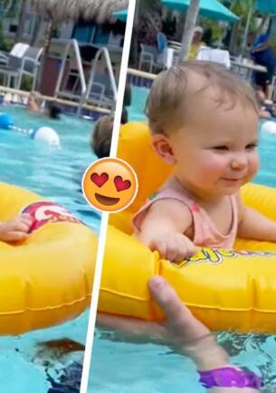 Малышка так мило станцевала в бассейне, что запустила тренд воспоминаний о приятных моментах из жизни